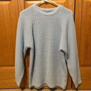Vintage Light Blue Knitted Thick Sweater